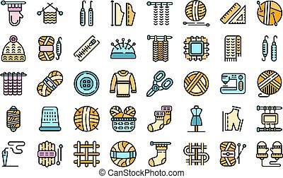 Knitting icons set vector flat