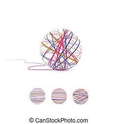 knitting., illustration., hilo, pelota, vector, enredo