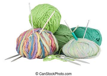 Knitting kit isolated on white background