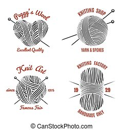 Knitting labels and knitwear logo set. Handmade and knit, ...