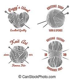 Knitting labels and knitwear logo set. Handmade and knit, wool and needle, yarn ball, vector illustration