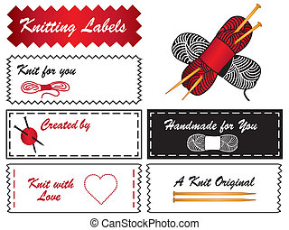 Knitting Labels - Sewing labels with knitting needles,...