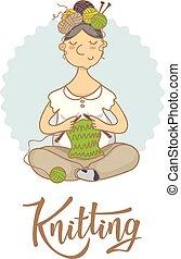 'Knitting' lettering logo for yarn store