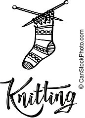 'Knitting' lettering logo with sock
