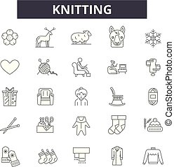 Knitting line icons, signs set, vector. Knitting outline concept, illustration: craft,yarn,wool,thread,sewing,needle