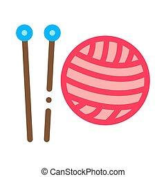 Knitting Needles Icon Vector Outline Illustration
