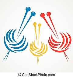 Knitting needles - Vector illustration of colorful knitting...