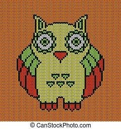 Knitting of big amusing owl