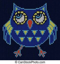 Knitting of big cartoon funny owl