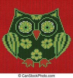 Knitting of big funny cartoon owl