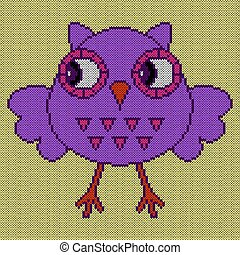 Knitting of funny owl with big eyes