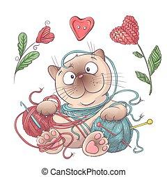 knitting., pelotas, hechaa mano, accesorios, gato, hilo, conjunto, croché, elementos