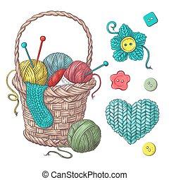 knitting., pelotas, hechaa mano, accesorios, hilo, conjunto, croché, cesta, elementos