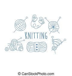 Knitting Related Icon Set With Text Hand Drawn Simple Vector...