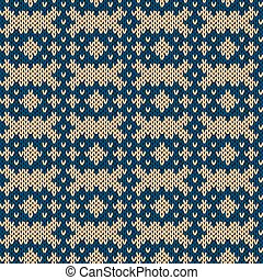 Knitting seamless pattern in beige and blue