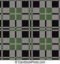 Knitting seamless pattern in green, grey, black and white colors