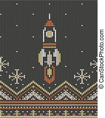 Knitting seamless pattern rocket