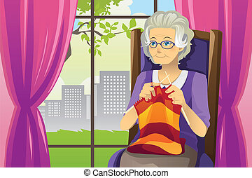 Knitting senior woman - A vector illustration of a senior...