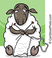 knitting sheep cartoon illustration - Cartoon Illustration...