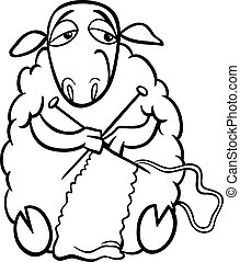 Black and White Cartoon Illustration of Funny Sheep Farm Animal Knitting for Coloring Book
