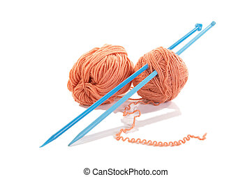 Knitting spokes with ball of wool isolated