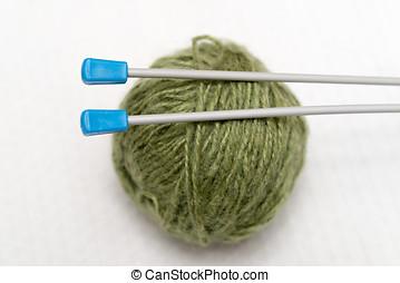 Knitting - Detail of needles for knitting half