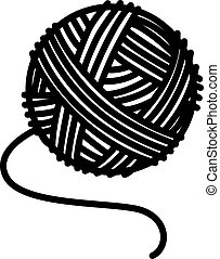 Knitting Tangle. Knitting thread coiled into a ball - vector silhouette illustration for logo or pictogram. A ball of wool for handmade - a sign or symbol for identity