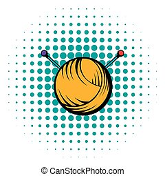 Knitting thread and needles icon, comics style