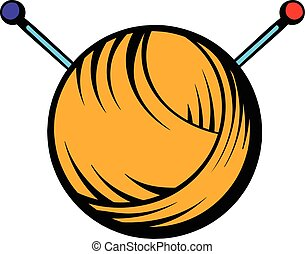 Knitting thread and needles icon, icon cartoon