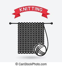 knitting tools. hand made symbol. vector illustration - eps...