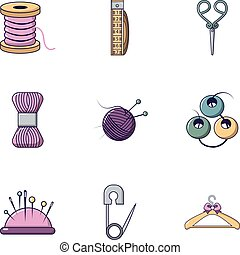 Knitting tools icons set, flat style