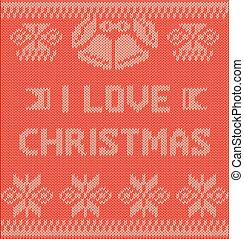 knitting vector, I LOVE CHRISTMAS