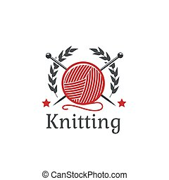 Knitting vector icon wool yarn clew needles