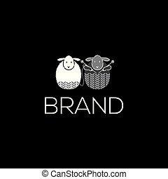 Knitting vector logo. Sheep vector icon.