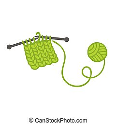 Knitting with needles and ball of yarn. Handmade clothes and...
