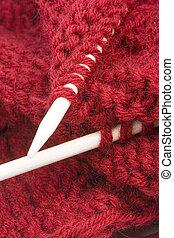 knitting with white needles