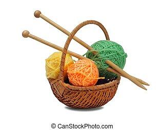 Knitting wool and needles