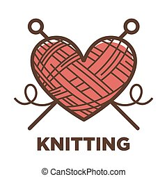 Knitting wool clew vector icon for knit craft - Knitting...