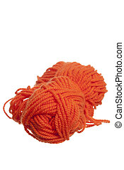 Knitting Wool on White Background.