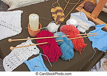 knitting wool - skeins and balls of wool for knitted work -...