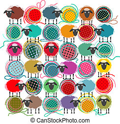 Vector EPS 8 graphic illustration of brightly colored yarn balls with sheep. All are layered and grouped to be simply used separately.