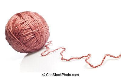 knitting yarn - tangle of knitting yarn on white background