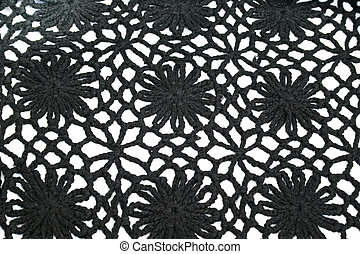 Knitwear - Black ornate knitwear as a  background.