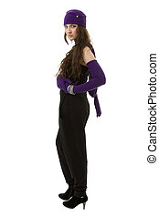 knitwear., junge frau, tragen, a, wintermütze