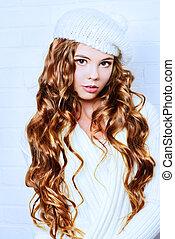 knitwear - Cute teenager girl with beautiful long curly hair...