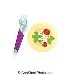 kniv, gaffel, och, tallrik, med, mat, tecknad film, vektor, illustration