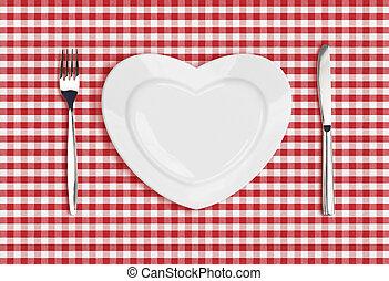 kniv, hjärta, tallrik, och, gaffel, på, rutig, bordduk