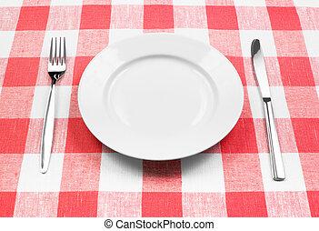 kniv, vita tallrik, och, gaffel, på, röd, rutig, bordduk