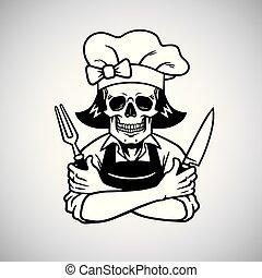 knive, dame, hat., grinsen, vektor, küchenchef, logo, zeichnung, totenschädel, tot, gabel