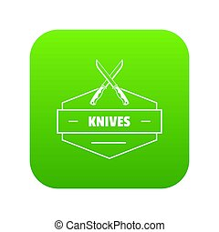 Knive icon green isolated on white background